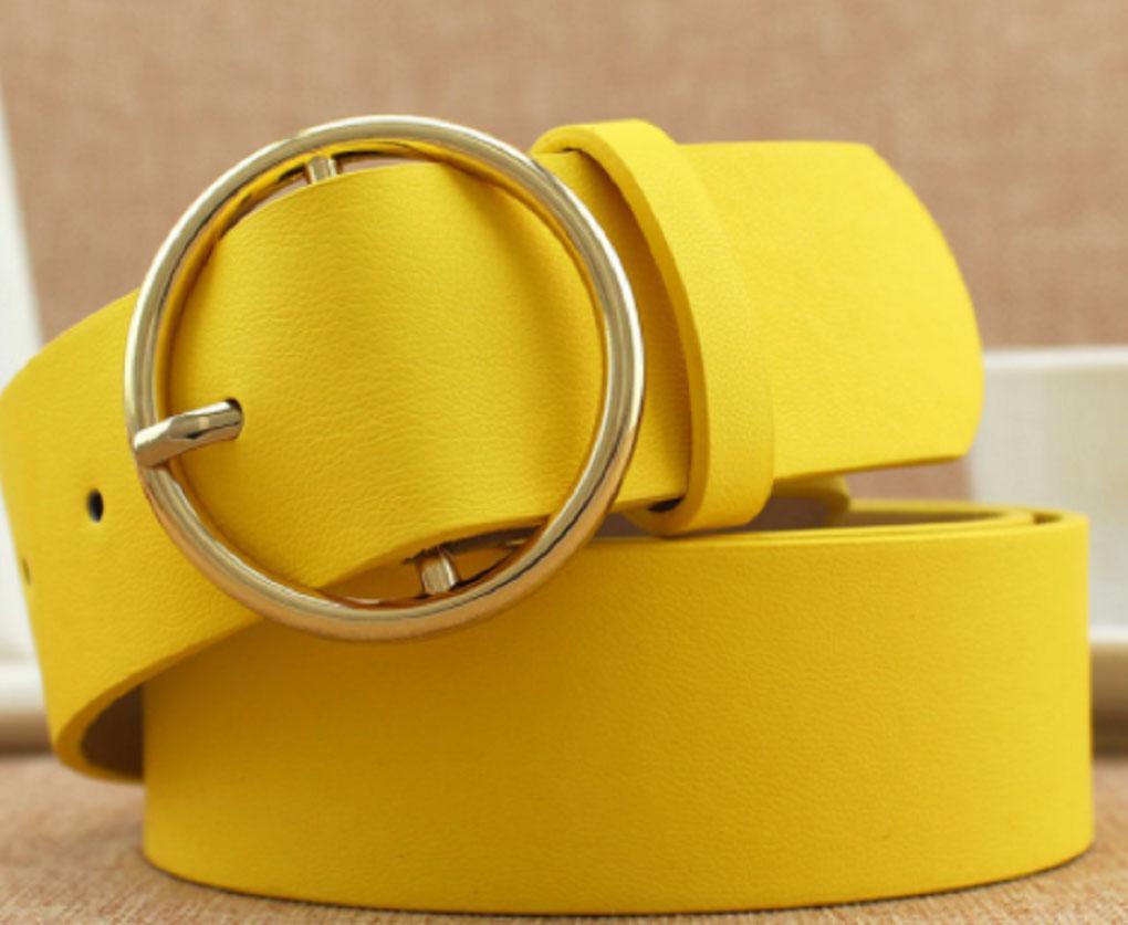 خمر الحزام الأصفر المعدنية لأحزمة سيدة نساء الشريط أنثى دبوس مشبك الأزياء النقش
