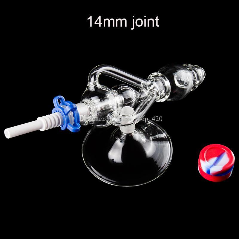 Großhandel Delux Dab Rig Glas Wasser Bong Handpfeifen mit 14mm Titanium Ceramic Nail-Quarz-Banger Glas-Stand Bohrinsel Hookahs Wasser Bongs
