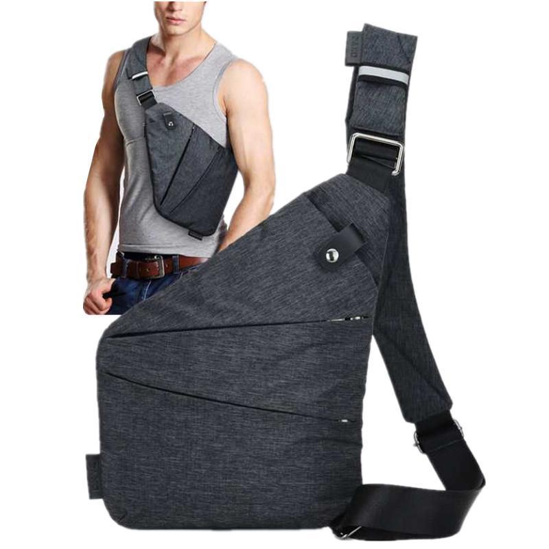 bolsa de lona en el pecho mensajero de negocios multifuncional de los hombres de almacenamiento digital del bolso del arma ajustada un hombro antirrobo