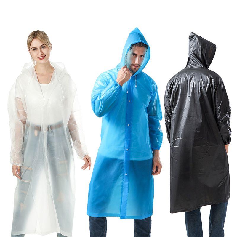 패션 EVA 친환경 비옷 농축, 방수 레인 코트 비 일회용 야외 비옷 캠핑 방수 비옷 한 벌