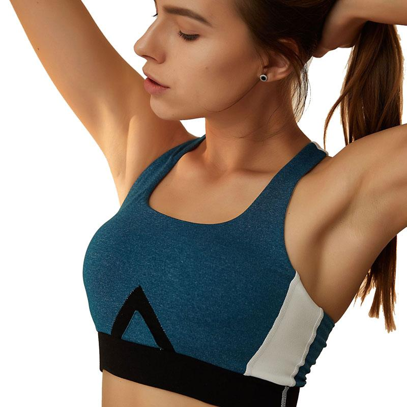 Women Sport Bra Grey Padded Yoga Brassiere Fitness Sports Tank Top Female Push Up Bras