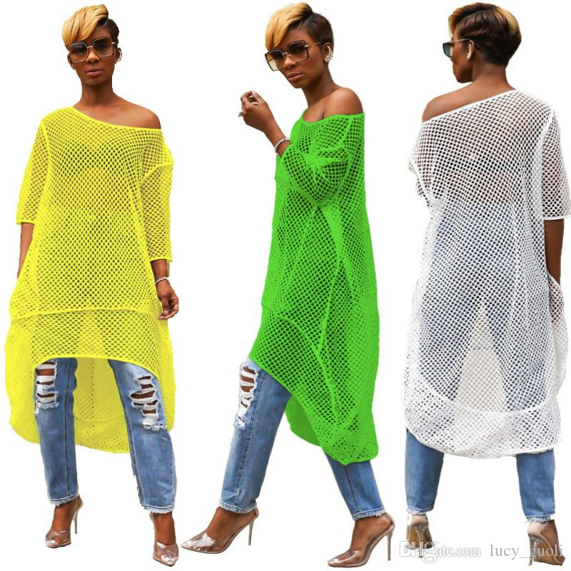 Fashion Fishnet Cut Out Sexy Loose Dress Women One Shoulder Half Sleeve See Through Dress Summer Neon Green Front Short Back Long Dress