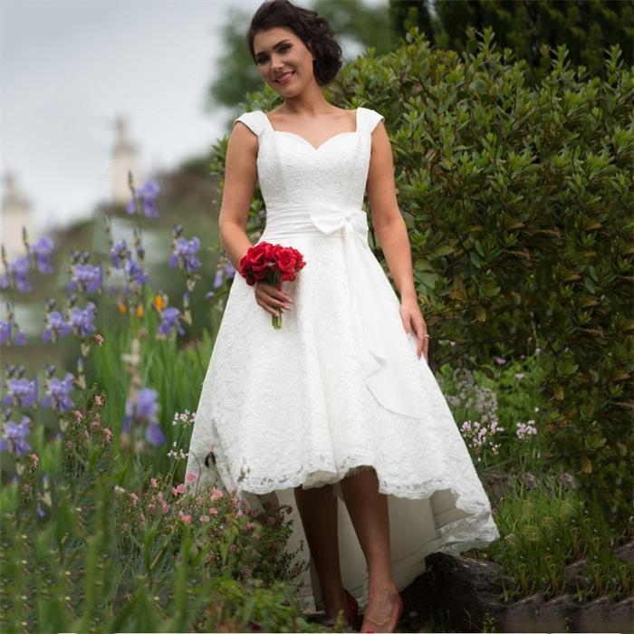 Setwell Sweetheart A-line Wedding Dresses Cap Sleeves Fully Lace Appliques Hi-Lo Bridal Gowns With Bow Belt