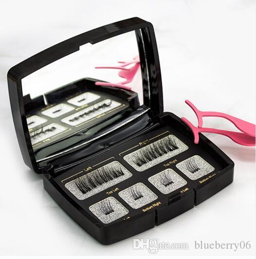 Hot 2sets/lot Magnetic Eyelashes Invisible Magnetic Lashes Mink Eyelashes With Tweezers 3D Mink Lashes Thick Full Strip False Eyelashes