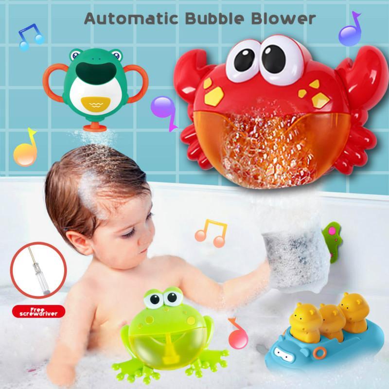 Burbuja exterior FrogCrabs baño del bebé de juguete Bubble Maker natación Bañera de jabón Juguetes Máquina para niños con agua de juguete de la música