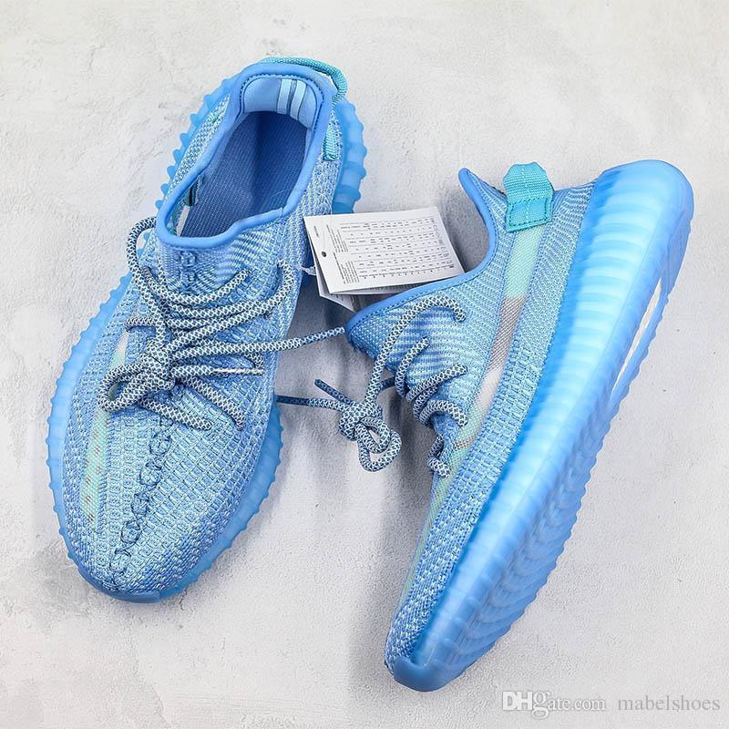 2019 Buzlu Mavi Kanye West Koşu Ayakkabı Statik Yeni Çıkış Tasarımcı Erkek Kadınlar Nefes Atletik Spor Sneaker