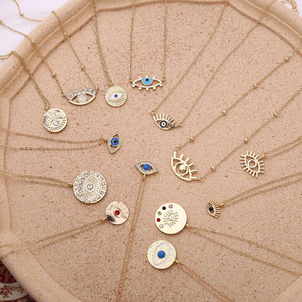 2020 NOUVEAU PENDANCE DE MODE Colliers Dames Gold Chaîne coloré Strass Rempli Eye Eye Coin colliers pour femmes Bohemian Gold Colliers