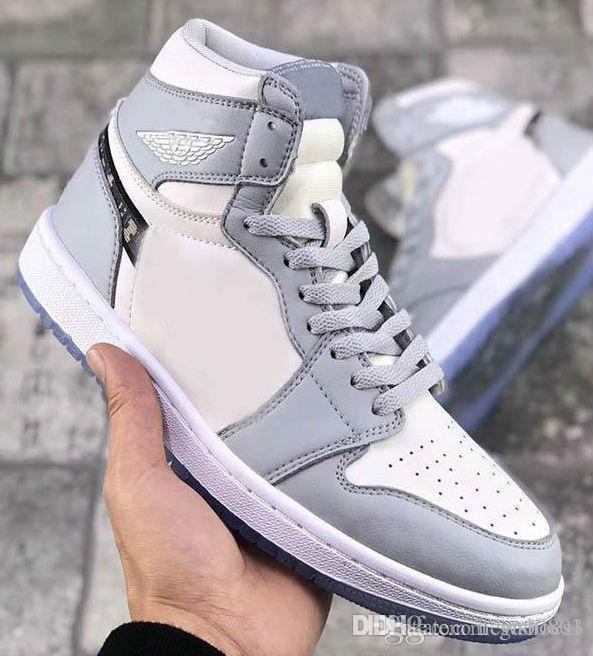 2020 Новых С версией 1 High OG Brand 1S Баскетбол обувь Парень Девушка Белой Серым Черным Спорт Спортивных тапки