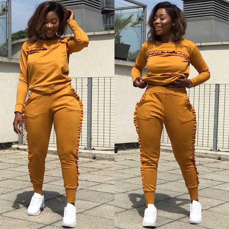 New Outdoor Sport Sets Women Gym Suits Running Suit Two Piece Solid Long-sleeved Workout Clothes For Women Street Style Clothes Q190521