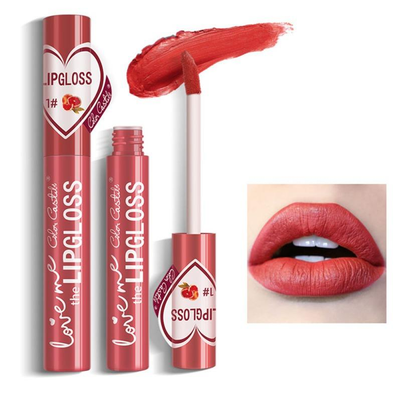 1 pc veludo de seda Lip Gloss Waterproof Non-stick Copa de longa duração Colorfast Matte pigmento líquido Lipstick