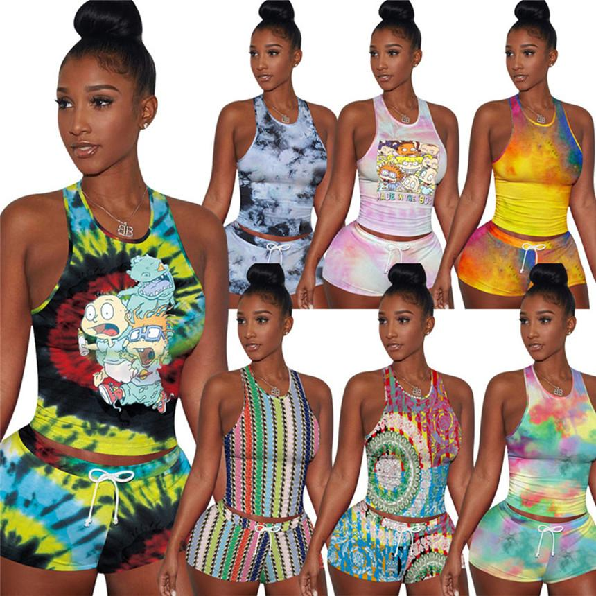 Women cartoon Tracksuit sexy tie dye 2 piece set sleeveless tank top+mini shorts fashion outfits summer clothes casual jogger suit 3007