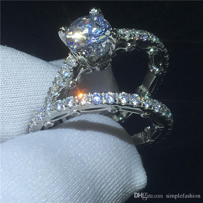 Vecalon 독특한 빈티지 링 여성 손가락 보석 925 스털링 실버 다이아몬드 소나 Cz에 약혼 결혼 반지 반지를 설정