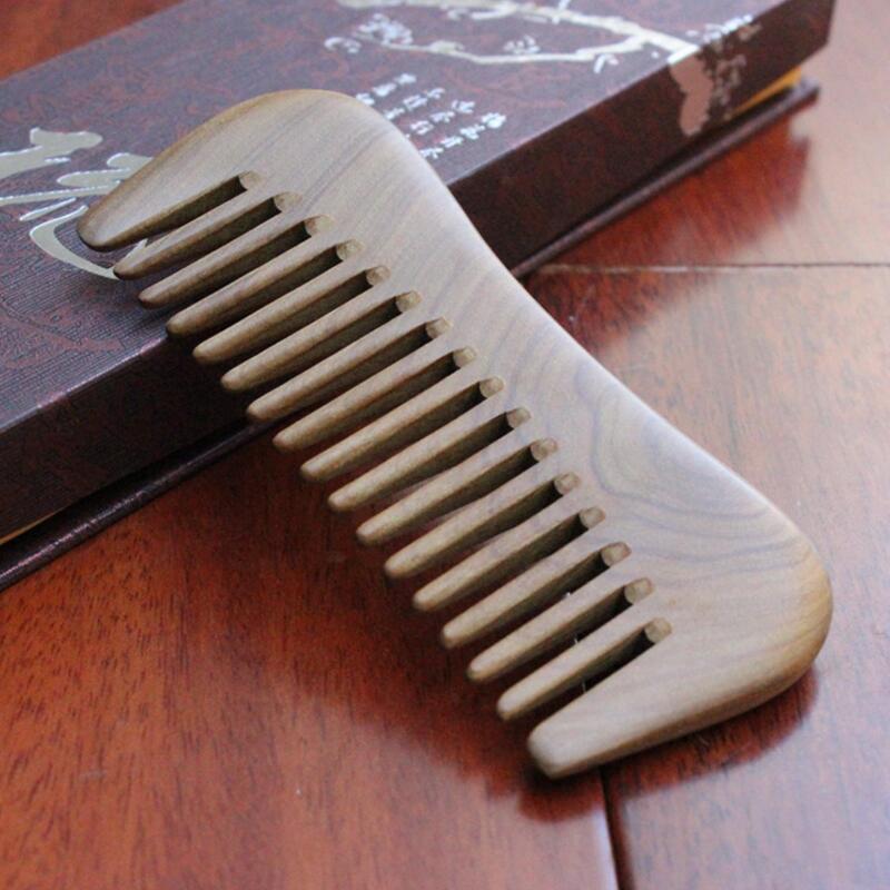 Расческа из натурального золотистого сандалового дерева Расческа для волос Деревянная расческа с широким зубом Нестатическая насадка для головы Массажер для бороды для массажа волос
