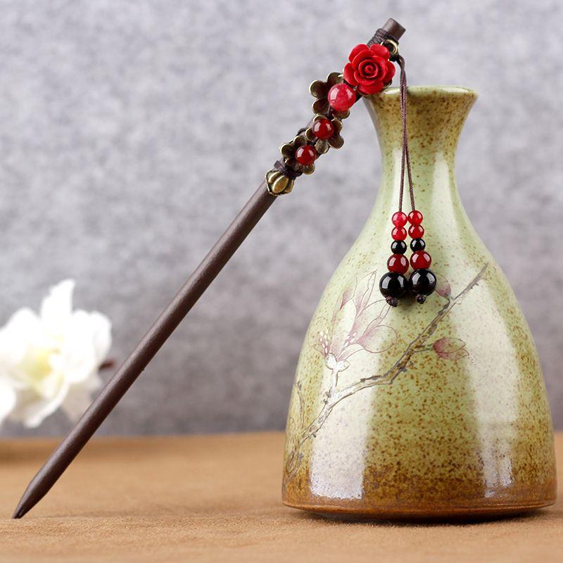 Bastoncini per capelli etnici artigianato Vintage donne nappa copricapo costume tradizionale cinese accessori per capelli ornamenti per capelli in legno