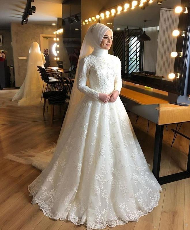 Modest Muslim Wedding Dresses 2020 Long Sleeves Lace Beaded Hijab Bridal Gowns Plus Size Robe De Mariee
