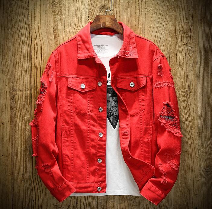 Men's Denim Jacket Funny Dog Printed Broken Hole Jean Jacket Spring Autumn Streetwear Coat