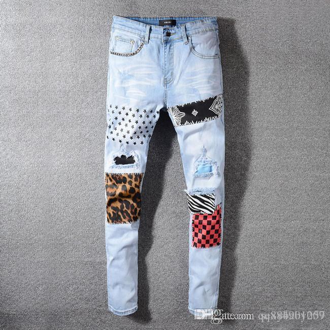 2019 marca de diseño de moda de lujo de los hombres s de lujo de diseño de ropa para hombre Jeans Jeans Slim Fit motorista de la motocicleta del dril de algodón para los hombres marca de diseño