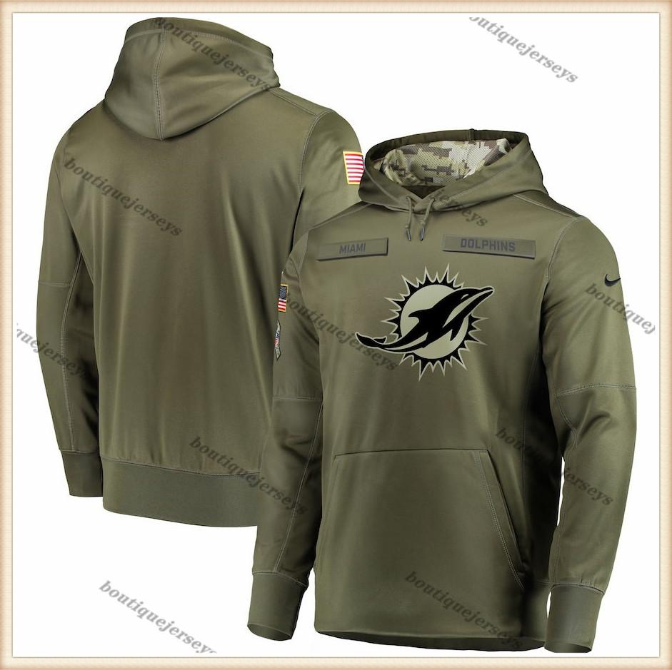 Men MiamiDolphinsOlive Salute to Service Sideline Therma Performance Pullover Hoodie Outdoor Sports Clothing Sweatshirt