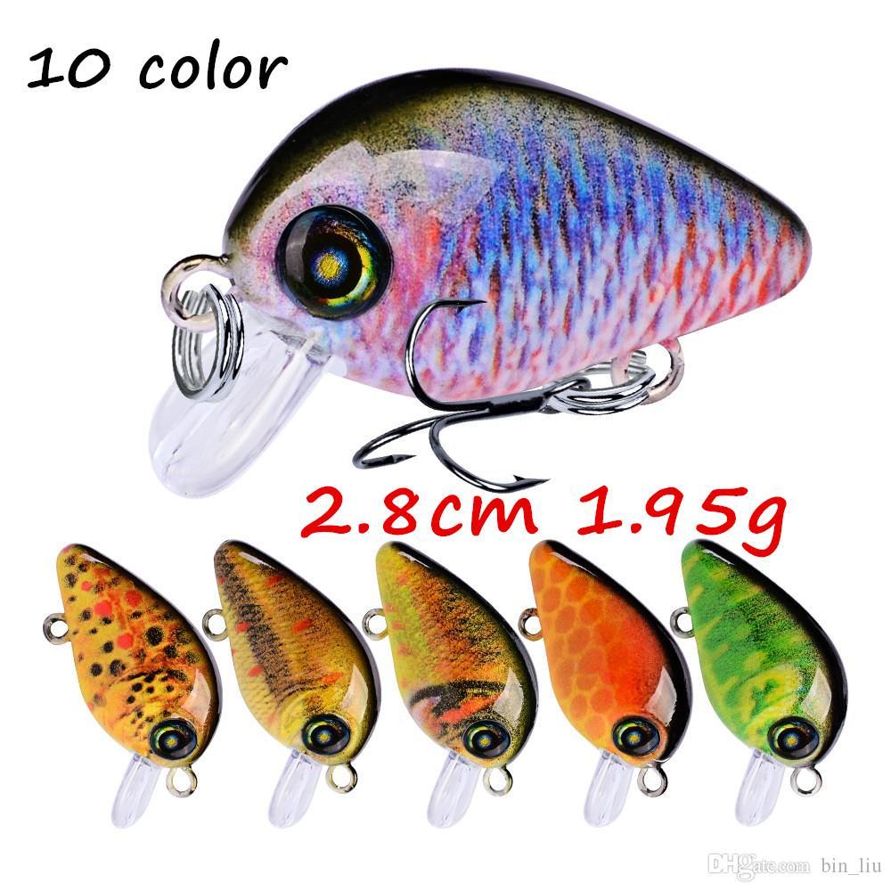 10 цветов смешанные 3D глаза кривошипно пластиковые жесткие приманки приманки 2.85 см 1.95 г 14# Pesca рыболовные крючки BL_1