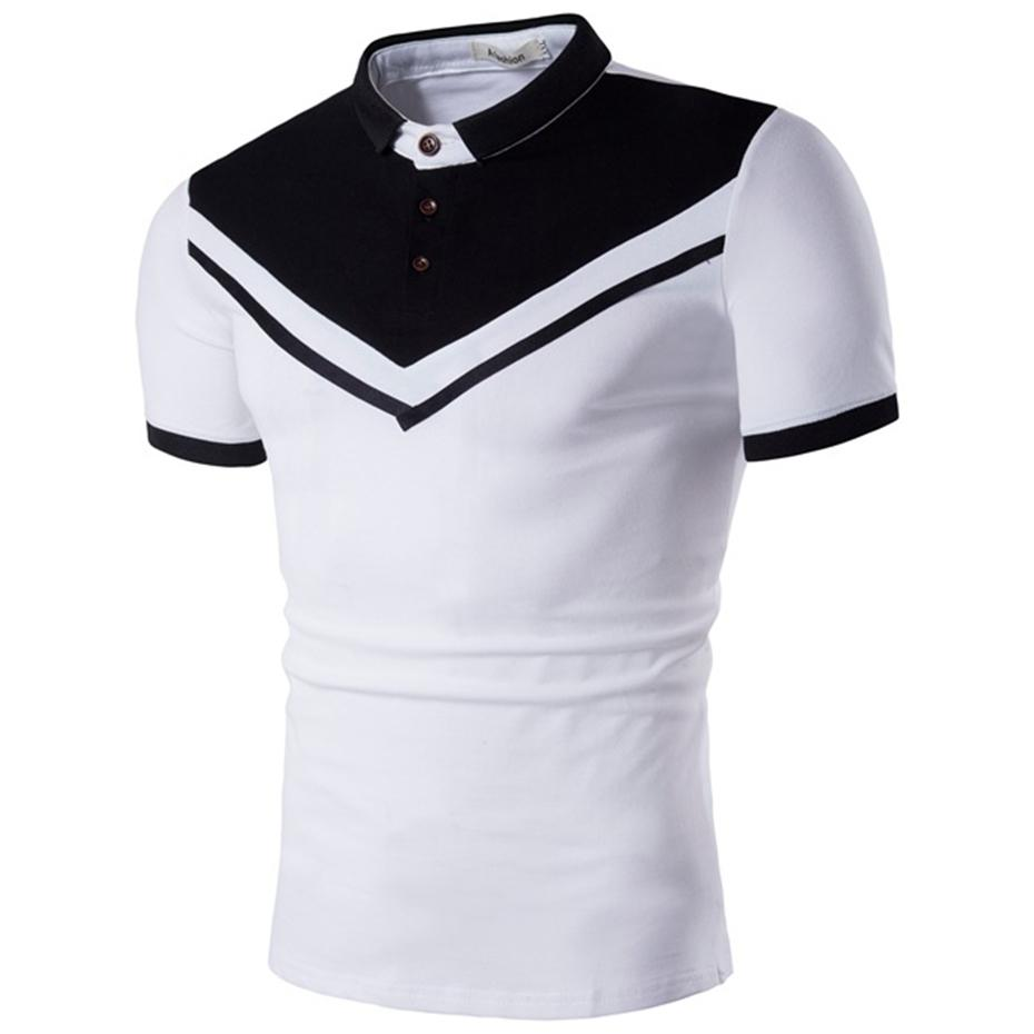 Zogaa Brand New Men Business Casual Solid Male Short Sleeve Color Block Shirt Slim Fit Polo Mens SH190718