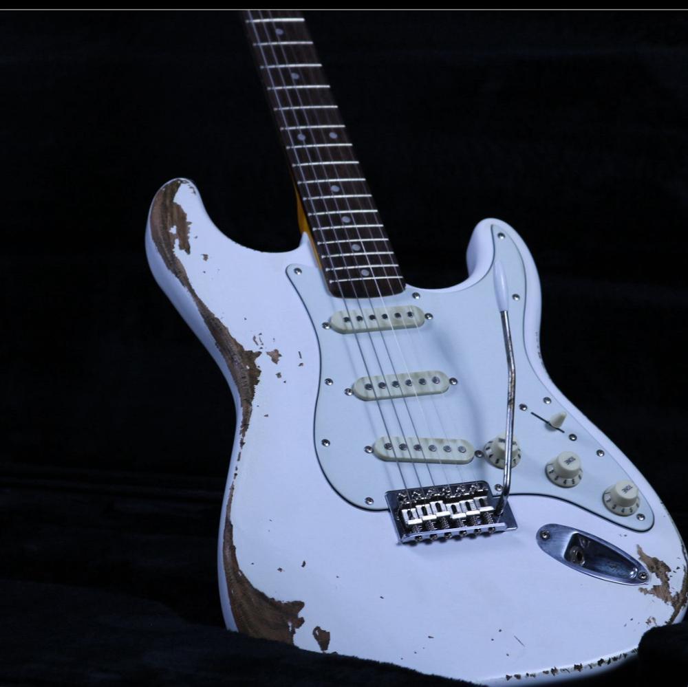 Nouveau produit blanc lourd Relic guitare électrique Z-ZV6 Activités de promotion Can personnalisée Vente chaude Real Photos Tremol Pont
