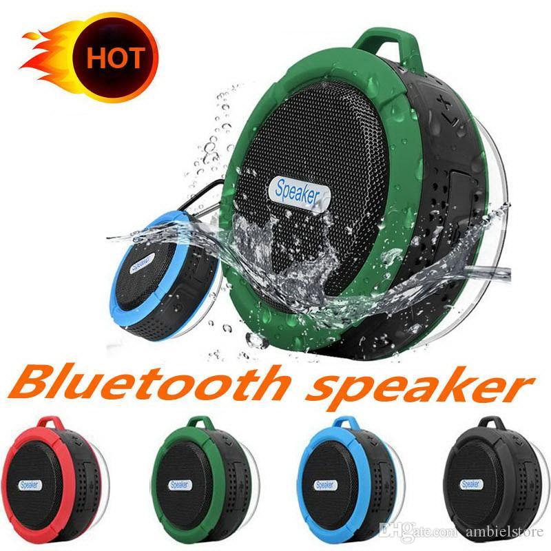 C6 Altavoces Bluetooth IPX7 Ducha deportiva al aire libre Altavoz inalámbrico portátil resistente al agua Ventosa Manos libres MIC Caja de voz 5 colores