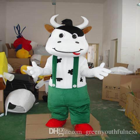 2019 Yüksek kalite sıcak Malzeme Kask Üç tarzı Mengniu inek Maskot Kostümleri Film sahne parti karikatür Giyim