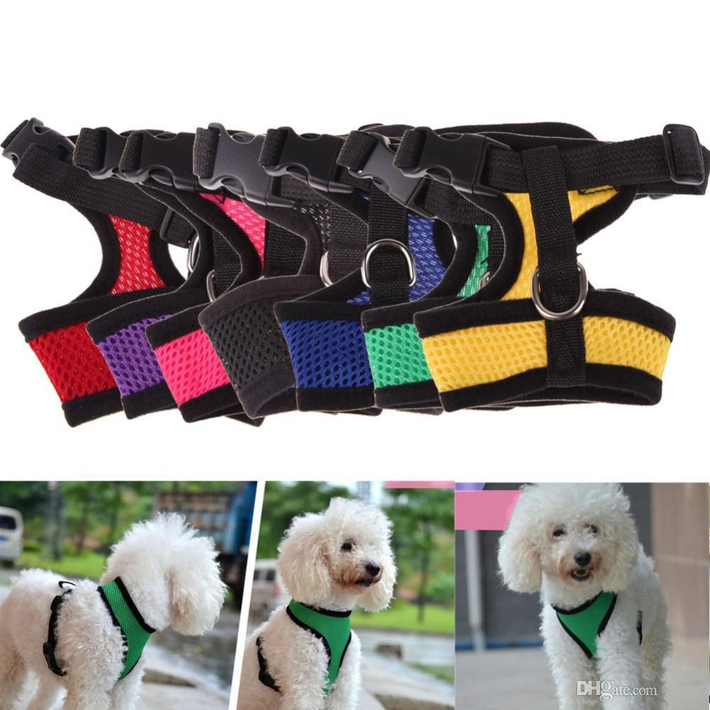 Confortável Ajustável Macio Respirável Cão Arnês Pet Colete Corda Cão Peito Strap Leash Set Collar Leva Arnês