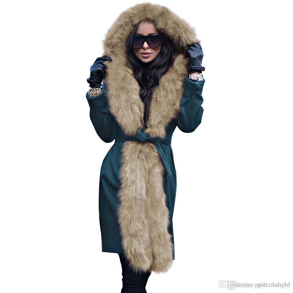 Женщины WInter Дизайнер Длинные пальто пуховики меховой воротник Пояса теплый толстый Пальто ветровки Femmes Vestidoes