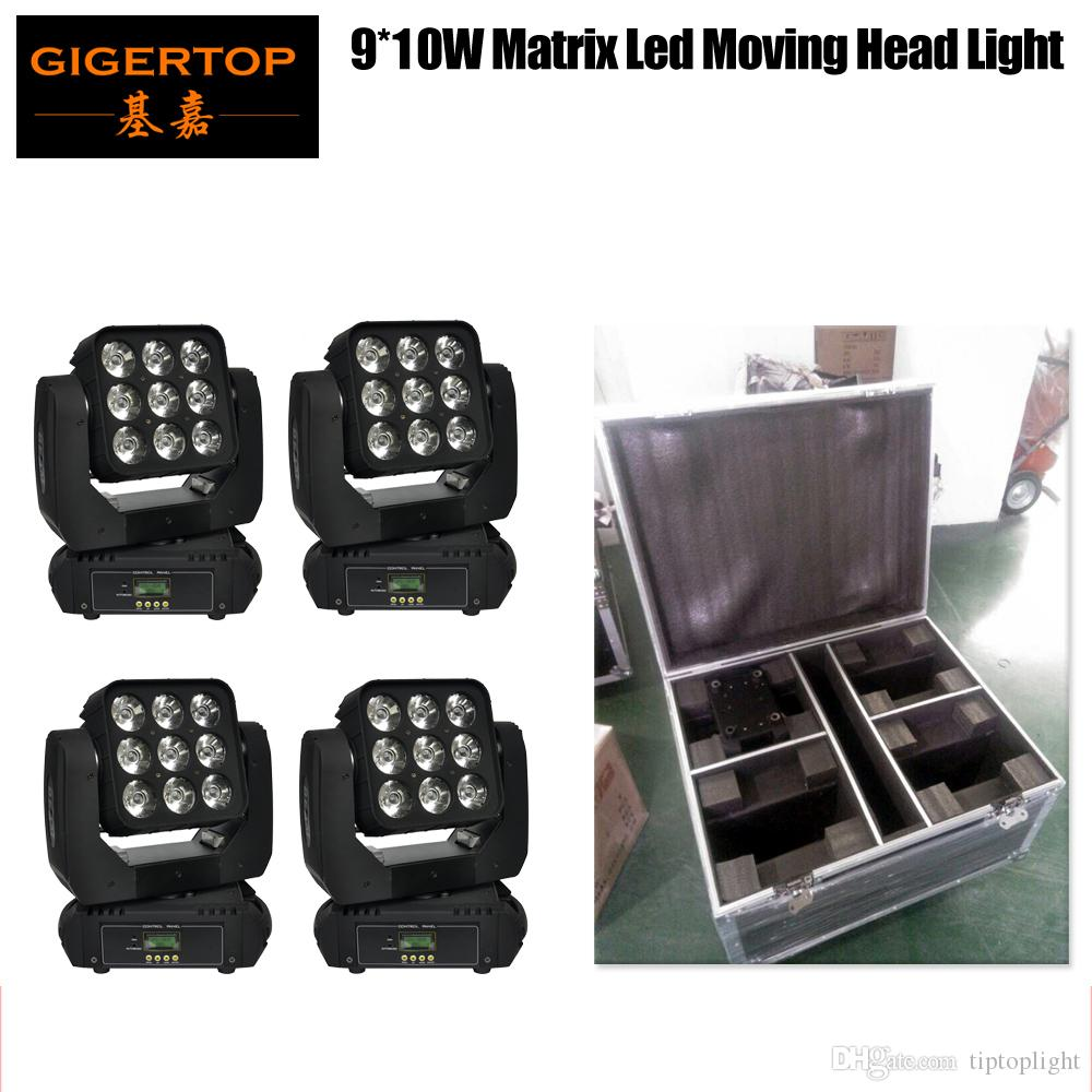 フライトケース4in1パック9x10W RGBW 4in1 LEDビーム移動洗浄ライトビッグレンズオーディエンスバックグラウンドワッシャーライトオート/サウンドアクティブ/ DMX