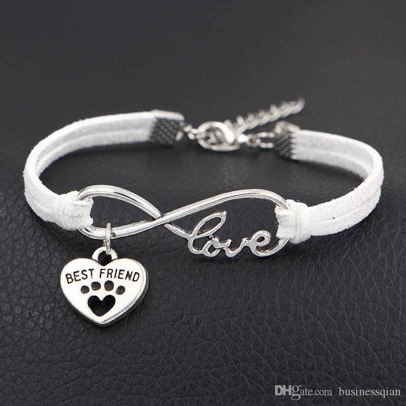 Antique Silver Woven White Leather Cotton Rope Infinity Love Dog Paw Prints & Best Friend Heart Charm Bracelet Women Men Accessories Jewelry