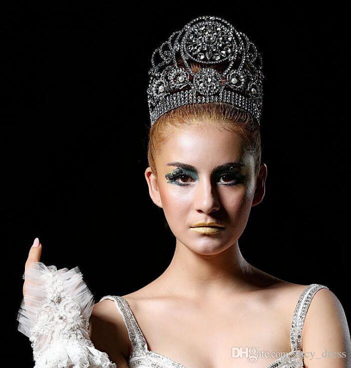 Splendida Sparkling Silver Wedding Diamante Pageant Diademi Hairband di Cristallo Corone Da Sposa Per Le Spose Capelli di Alta Qualità Gioielli Copricapo