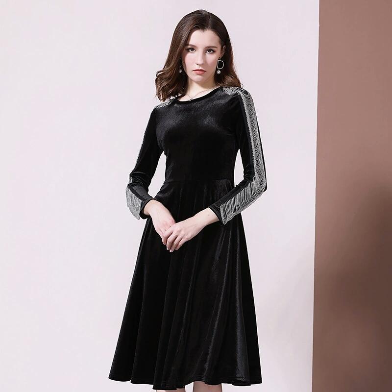 women fall winter velvet dress luxury designer dresses women vintage empire chains sleeve Dress classic black party Dresses gf gift S-XL