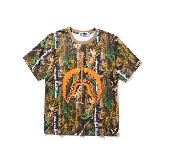 Jh Camouflage stampa casuale allentato Short Uomo Estate casuale variopinto del fumetto T-shirt stampata di cotone bianco nero degli uomini di Hip Hop T-Shirts Top