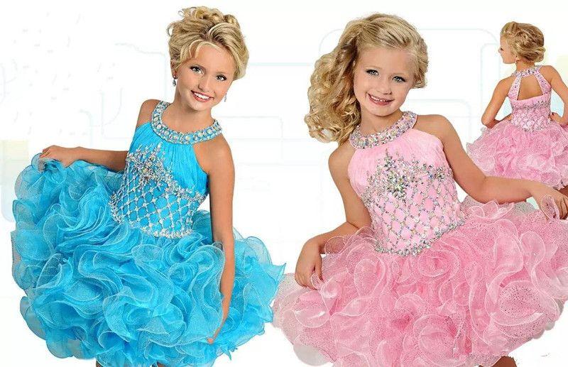 Vestidos para niñas de flores 2019 Vestido de belleza con cuello colgado falda con cierre de cremallera Eugene hilo Flor de loto hoja fiesta de cumpleaños falda pastel paquete personalizado