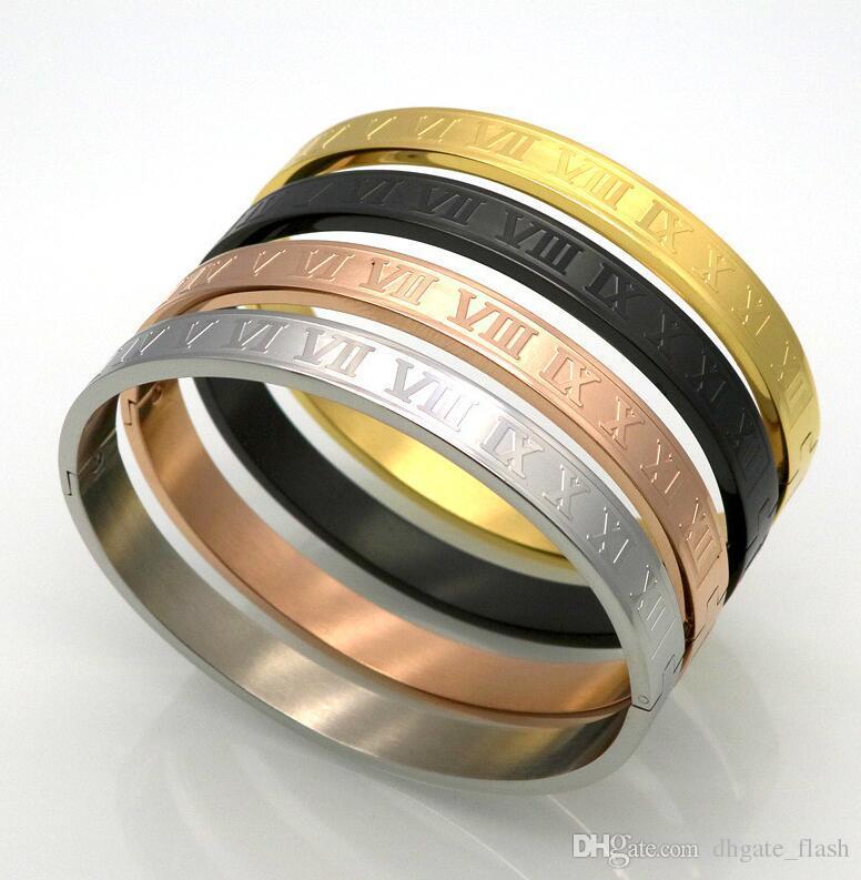 Nuevo acero inoxidable rosa de oro parejas de plata pulsera tallado numero romano amante brazalete brazalete joyería de boda hombres / wome