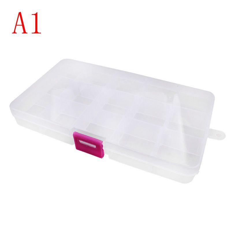 Designer-15 Compartiment Boîte de rangement transparente en plastique Petite boîte Boîte de rangement de bijoux pour collier Boucles d'oreilles Anneaux FFA002
