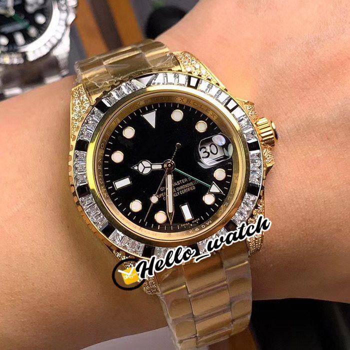 Nuevo 40 mm II GMT 116758-sanr dial negro reloj para hombre Diamante bisel 18k amarillo oro pulsera pulsera gents relojes hola_watch 6 color