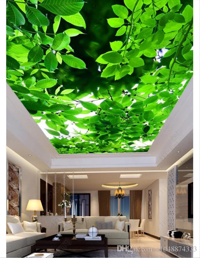 Индивидуальные 3D Зенит фото потолок фон росписи веточка зеленые листья гостиная потолок Зенит росписи интерьера Обои