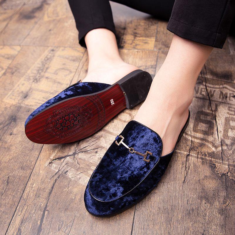 Мужская замша с открытой спиной Slip-On платье тапочки на спинки бархатные мокасины ленивый человек половина обуви для мужчин размер 6~13