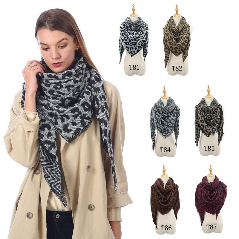 여자 표범 삼각형 스카프 특대 겨울 따뜻한 술 스카프 패션 큰 긴 숄 랩 파시미나 담요 TTA1740