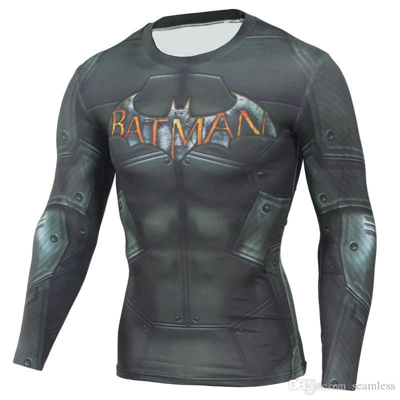 Wholesale 2019 Crossfit Men's Fitness Long Sleeves Rashguard functional t-shirt man FitnessMMA Skinny Thermal Underwear Compression Shirts