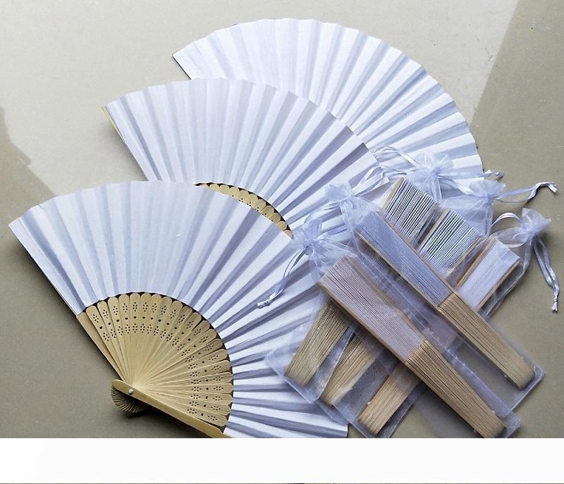 Fan casamento de papel de seda B com fãs Organza Bag Folding Mão personalizado presente de casamento para Guest W8489