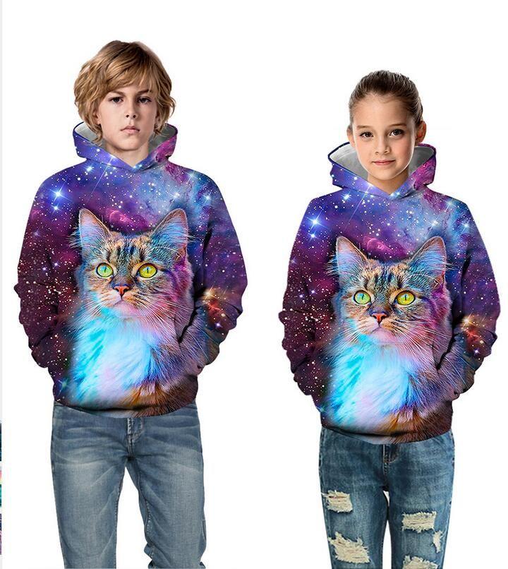 2019 modelos de explosión de otoño e invierno 3D cat impresión digital desgaste de los niños con capucha suéter moda casual de manga larga clothi infantil