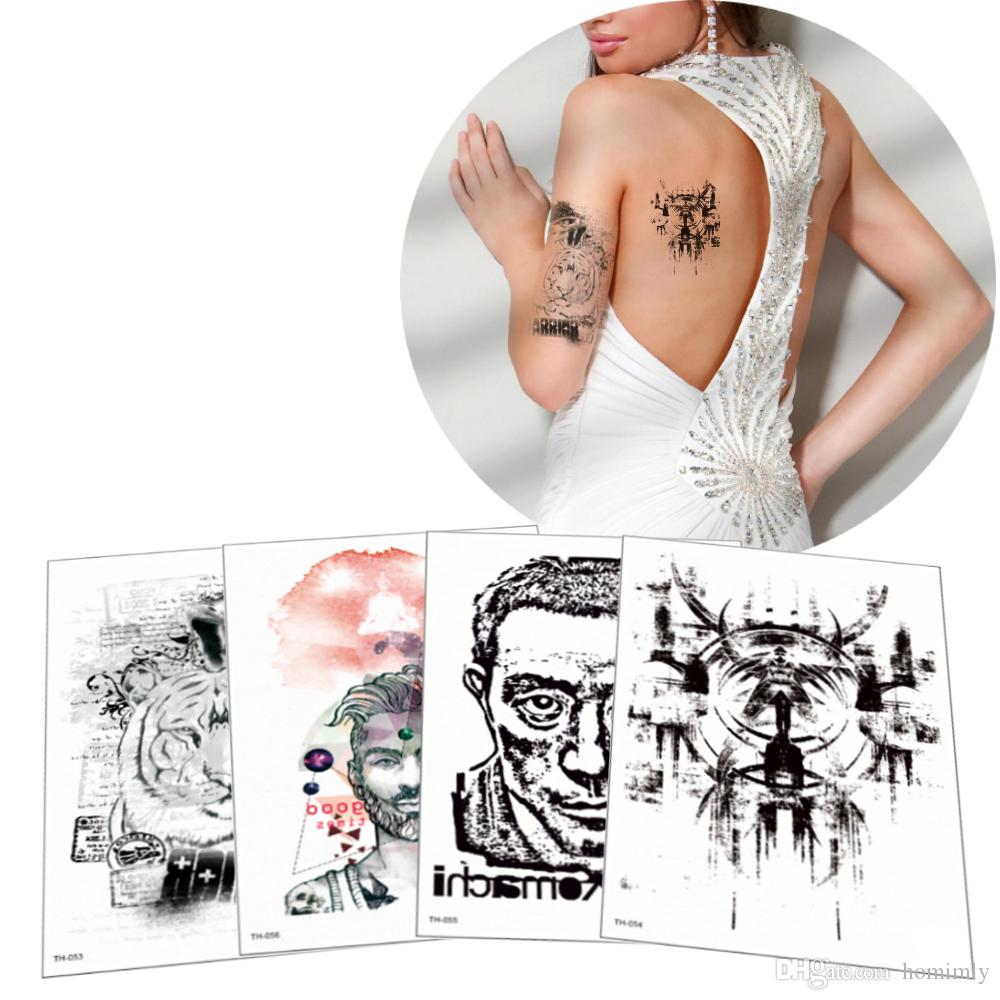 Fashion Temporary Waterproof Tattoo Designs For Girls And Boys Fake Black Tiger Cool Men Transfer Paper Tattoo Sticker Sex Diy Tattoo Of Name Tattoo