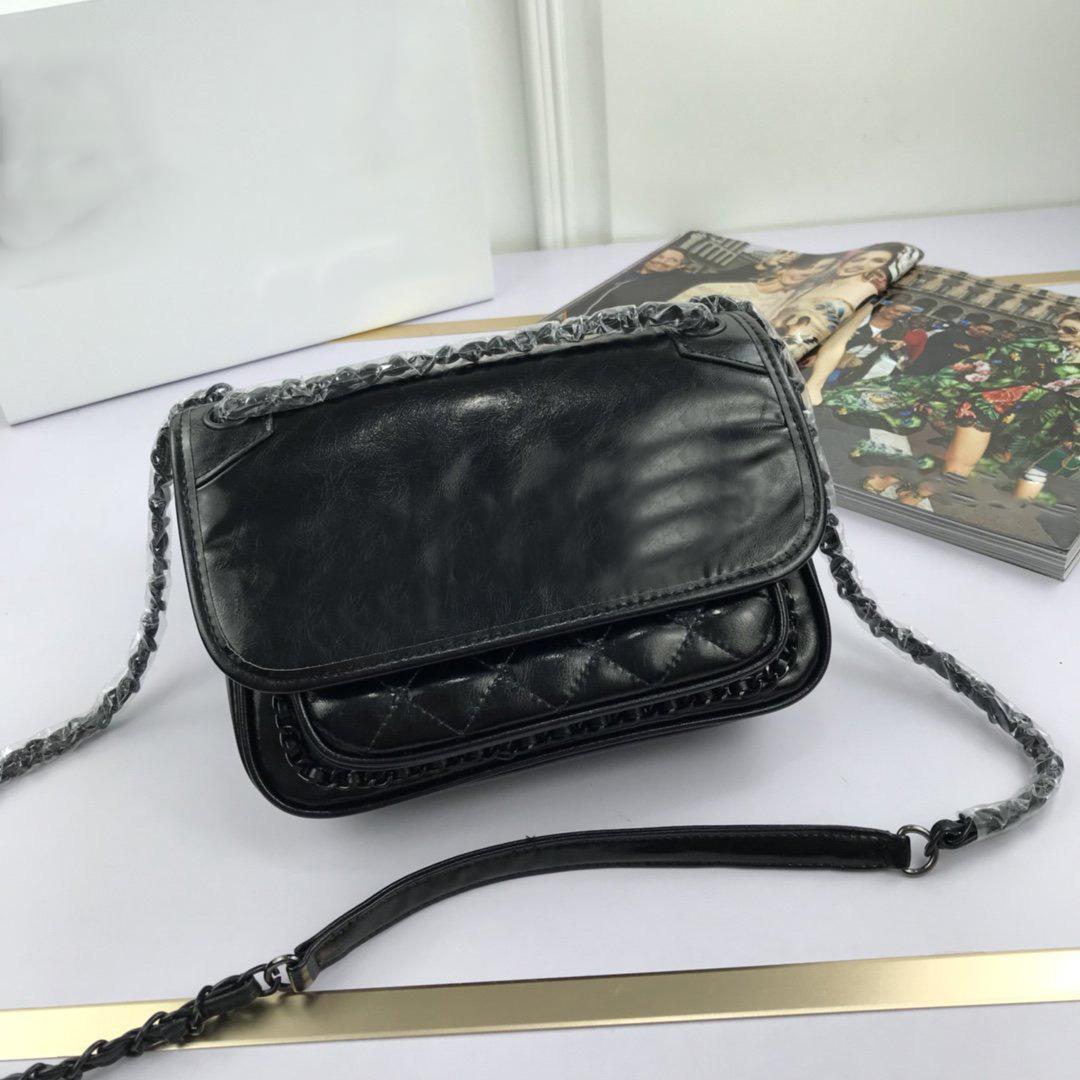 Elegante moda sacchetti di spalla delle donne in vera pelle morbida luce catena nero borse crossbody femminili big bags messaggi flip cover capacità