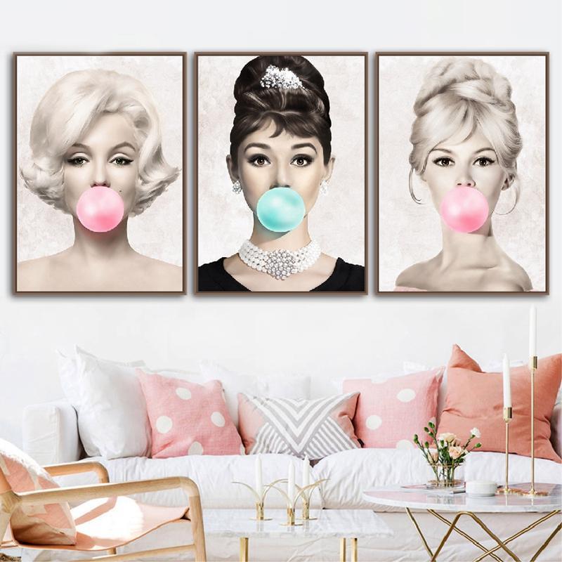 Audrey Hepburn Bubble Gum Wall Art Tuval Moda Posterler Brigitte Bardot, Marilyn Monroe Baskılar Boyama Resimleri Ev Dekorasyonu