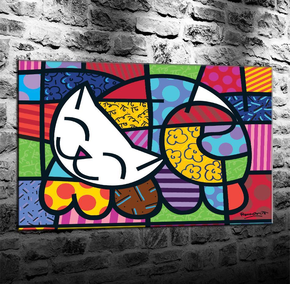 Romero Britto puzzle 1000 piezas, Impresión en lienzo HD Nueva decoración del hogar Arte Pintura / (Sin marco / Enmarcado)