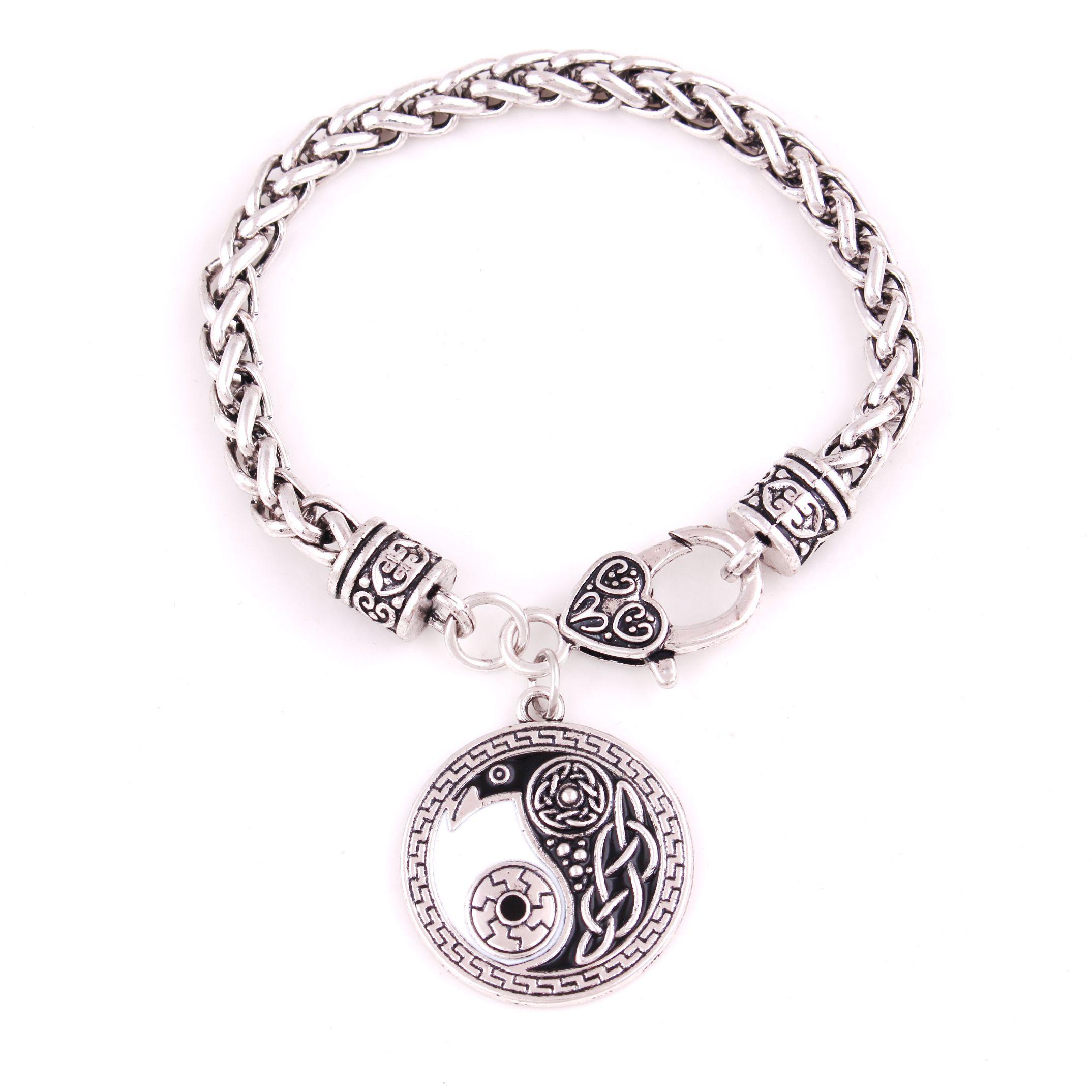 HY188 Religious amulet bracelet raven pendant and black enamel form a raven embedded of Yin Yang symbol