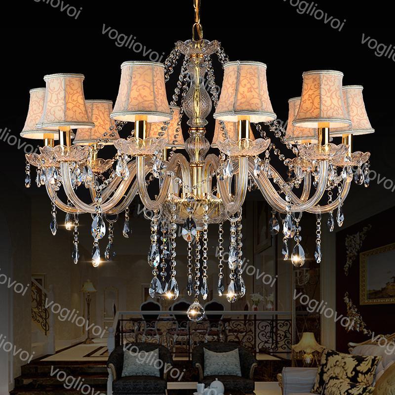 Kristal Avize Altın K9 E14 LED Filament 30cm Kapalı Giyim Mağazası için Kumaş Kapak Ile Asılı Cafe Restaurant Bar DHL